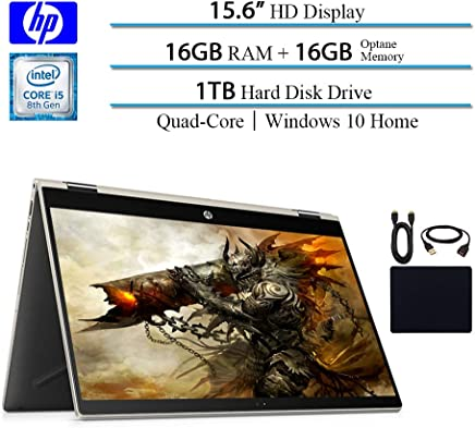 "HP Pavilion 2019 Premium X360 2-in-1 Convertible 15.6"" HD IPS Micro-Edge Touchscreen Laptop, Intel 4-Core i5-8250U(>i7-7500U), 16GB RAM, 1TB HDD, 16GB Intel Optane, Win 10, Gold w/ HESVAP Accessories"