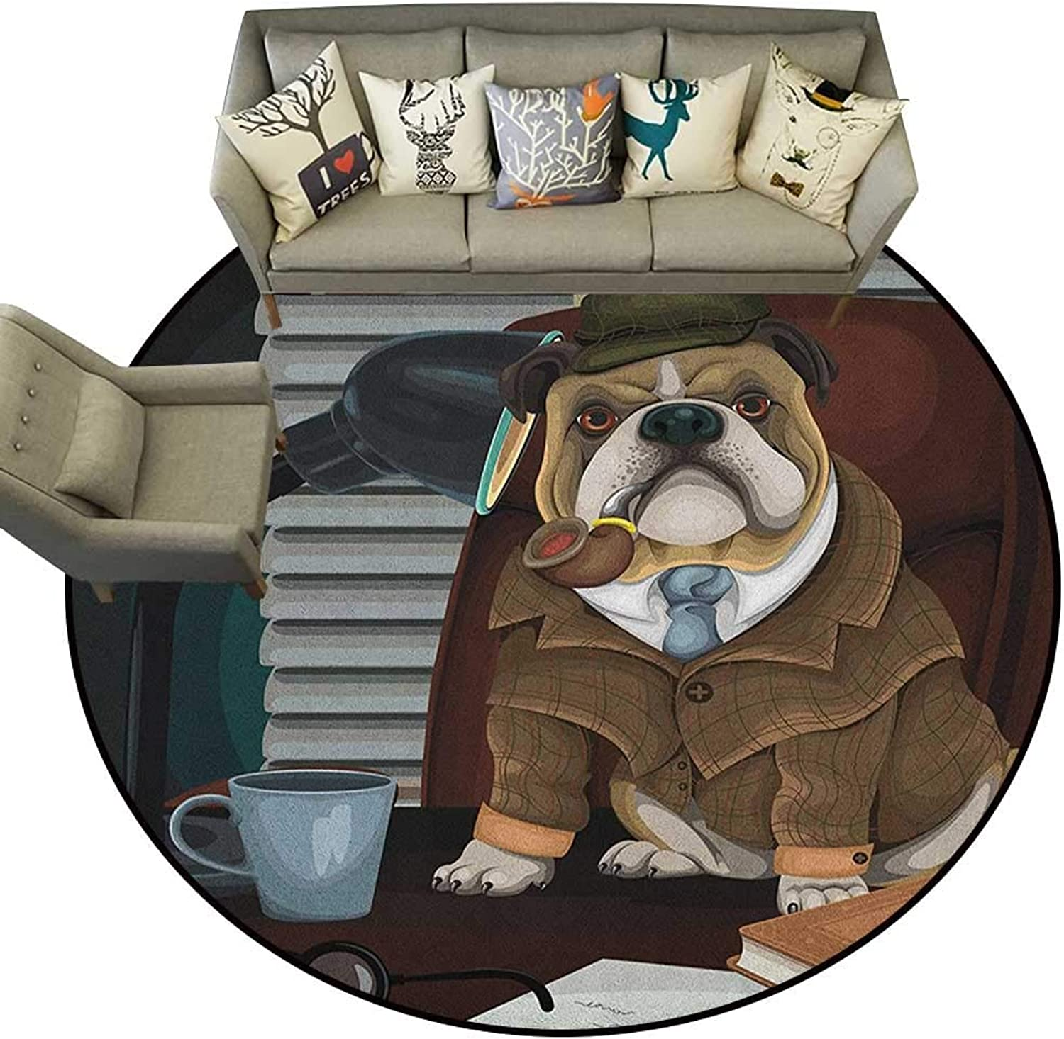 English Bulldog,Floor mats for Trucks Traditional English Detective Dog with a Pipe and Hat Sherlock Holmes Image D36 Door Mat Living Room Non-Slip
