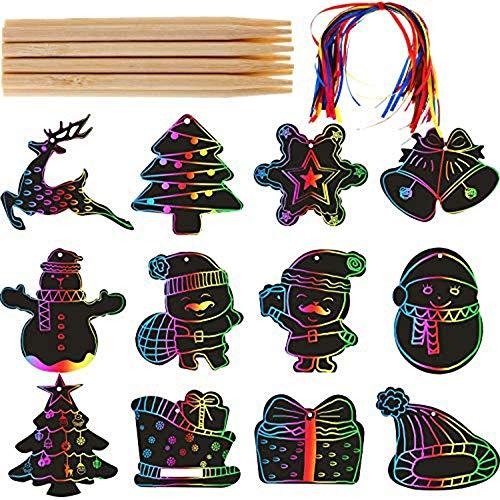 Johiux Weihnachten Kratzbilder Set für Kinder, Kratzpapier Set ,mädchen geschenke , Kratzbilder Set Weihnachtsdeko Regenbogen Kratzpapier zum Basteln Kinder Scratch Paper. (60 Stücke)