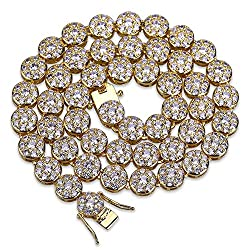 Gold 24'' Chain Link Necklace With Rhinestone