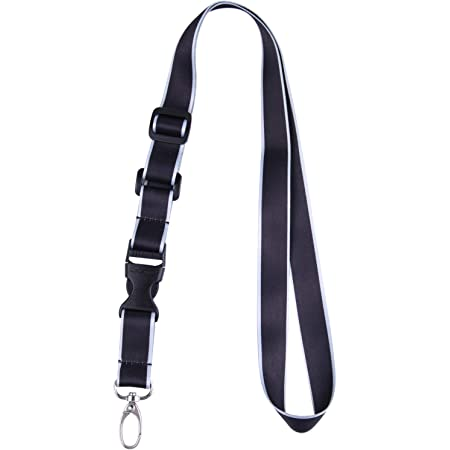 Office Lanyard, Wisdompro® Adjustable Length, Polyester Neck Strap with Oval Clasp & Detachable Buckle for ID, Name Tag, Company Badge Holder, and Keys - Black/Powder Blue