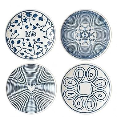 ED Ellen Degeneres Blue Love 6 Inch Plates Mixed, Set of 4