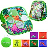 URATOT Bean Bag Toss Game Toy, Dinosaur and Jungle Animals Themes, Double Sided Cornhole Board with 6 Colorful Bean Bags, Collapsible Outdoor Toss Games for Family
