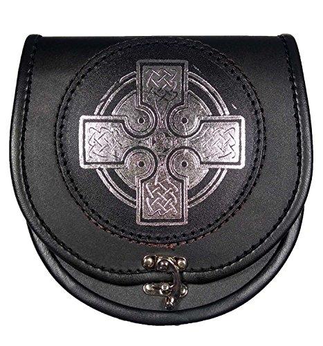 UT Kilts Silver Celtic Cross Leather Sporran