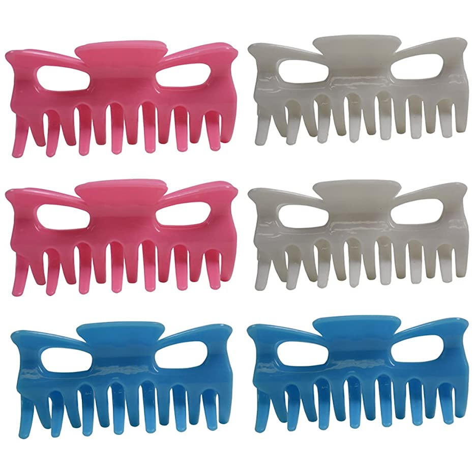 Set of 6 Basic Jaw Clips for Hair - Pastels