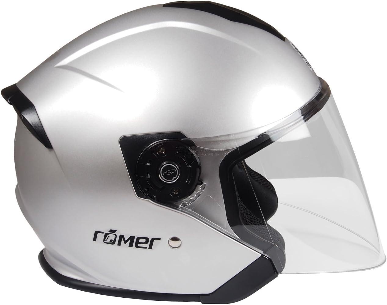Silber Matt R/ömer Helmets Motorradhelm Koblenz Gr/ö/ße M