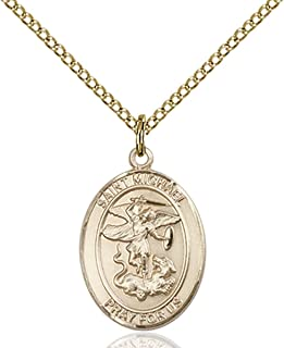 14KT Gold Filled Catholic Saint Military Medal Pendant, 3/4 Inch