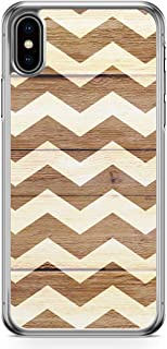 Loud Universe Case for iPhone XS Max Transparent Edge Case Holidays Chevron Zig Zag Wood Pattern White Brown iPhone XS Max...