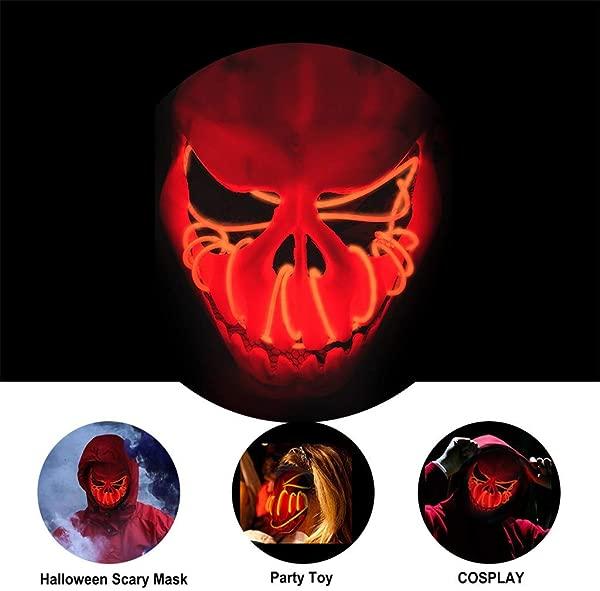Pamzisun 万圣节骷髅面具 Led 补光灯面具恐怖的电池供电远程控制的节日角色扮演万圣节服装成人