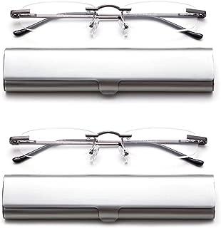2 Pack Compact Reading Glasses in Tube Slim Rimless Reader in Aluminum Case