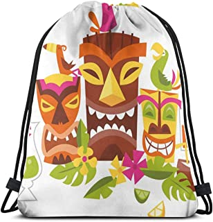 Unisex Drawstring Bag Gym Bags Storage Backpack,Three Grimacing Tiki Party Masks Surrounded by Leaves Drinks and Cute Toucan Birds