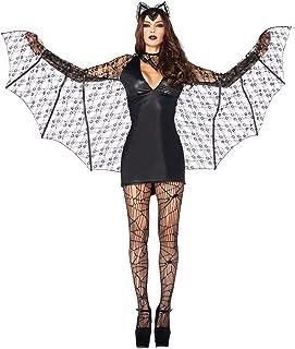 LDSSP Habiliment per Indumenti da Donna per Halloween Horrify Creepy Lace Bat Donne Cosplay La