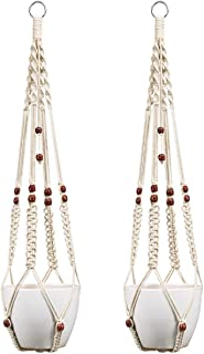 Mkono 2Pcs Macrame Plant Hanger Indoor Outdoor Hanging Planter Basket Cotton Rope with Beads 35 Inch