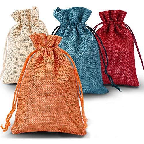Adventskalender zum Befüllen, 24er Set Jutesäckchen Stoffbeutel Jutebeutel Geschenksäckchen Weihnachten, für Weihnachtskalender DIY, 10cm x 14cm (Orange)