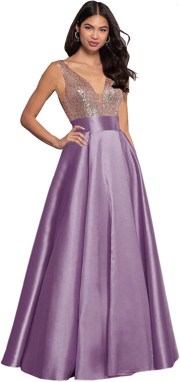 Women's Sequin Prom Dress Satin Evening 配送員設置送料無料 本物 Neck V Bridesmaid