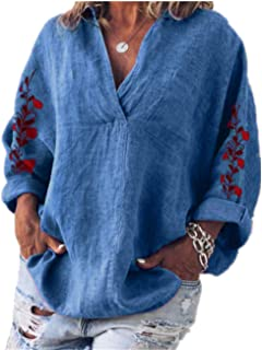 TT WARE Women Loose Embroidered V-Neck Long Sleeve Pocket Blouse-Blue-18