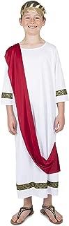 Roman Emperor Costume Set - Halloween Kids Caesar Toga and Crown Cosplay