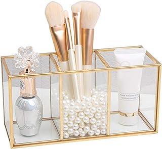 Make-up Organizer, Transparante Glazen Make-upborstel Opbergdoos, Gouden Cosmetica Container Ring Potlood Lippenstift Houd...