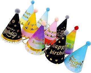 Lurrose バースデー帽子 誕生日 三角帽子 パーティーハット かわいい バースデー パーティー 小物 誕生日 お祝い 飾り 10個セット(混合色)