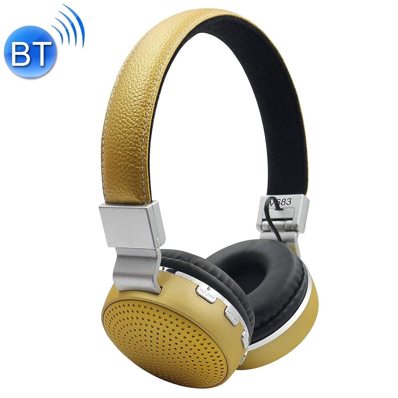 憤るバウンド内側YIYHG ヘッドホンマイク&FM&TFカード、iPhoneのために、アプリ、iPod、サムスン、HTC、ソニー、華為、小米科技や他のオーディオデバイス(と/マイクヘッドマウントワイヤレスBluetoothヘッドフォンHeadsetStereo V683ワイヤレスBluetooth 4.2ヘッドフォンのw (色 : 黄)