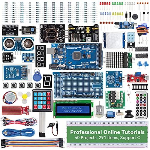 SUNFOUNDER Mega2560 Kit para Arduino Kit de inicio completo con 291 artículos compatibles con Arduino IDE, MEGA 2560 R3 placa controladora, tablero de pan, kit de electrónica
