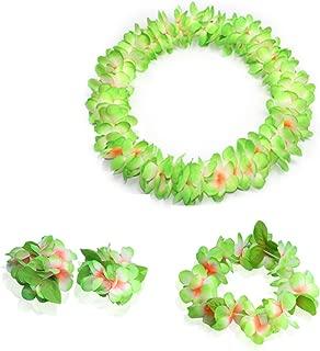 JSSHI Lush Hawaiian Headpiece,Hawaiian Flower Leis Jumbo Necklace Bracelets Headband Set with Leaf for Hawaiian Luau Party Decoration Supplies(with Green Leaves,Green)