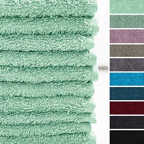 Lumaland Premium 10er Set Seiftücher Handtücher Frottee 30 x 30 cm aus 100{9e8066ddeef1f145e5129dad6a9cf921918554f9be18e1554e098c661e010a60} Baumwolle 420 g/m² mit Aufhänger eisblau