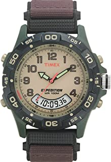 Timex Men's Expedition Quartz with Beige Dial Analogue Display and Brown Nylon Analog Watch T45181