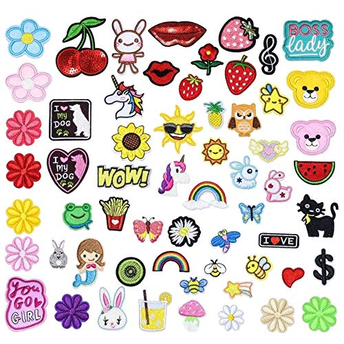 ZHDTW 60pcs Mixed Motif Different Size Patches for Clothing, Sew on Applique Patch for Kids, Small Size Patches for Clothing DT010