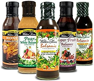 Walden Farms Calorie Free Salad Dressings, No Fat, Carbs, Gluten or Sugars- Pack of 5- Balsamic Pear & White Balsamic , Honey Balsamic , Super Fruits Balsamic , Raspberry Vinaigrettes