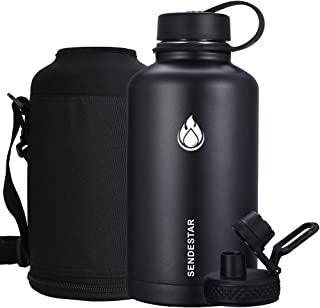 Sendestar 64 oz Beer Growler Double Wall Vacuum Insulated Leak Proof Stainless Steel Water Bottle -Wide Mouth with Flat Cap & Spout Lid Includes Water Bottle Pouch (Black)