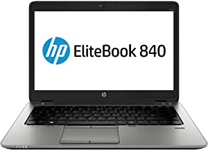 HP EliteBook 840 G1 14in HD Business Laptop Computer Ultrabook, Intel Core i5-4300U 1.9 GHz Processor, 8GB RAM, 256GB SSD, USB 3.0, VGA, WiFi, RJ45, Windows 10 Pro (Renewed) (256gb SSD)