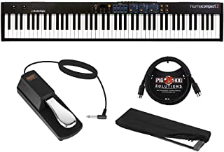 StudioLogic Numa Compact 2 88-Note Semi-Weighted Keyboard with FP-P1L Sustain Pedal, Keyboard Dust Cover (Large) & 6ft MIDI Cable Bundle