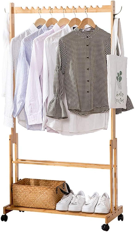 JIAYING Coat Racks Coat Rack, Removable Floor-Standing Solid Wood Wavy Hanger Coat Rack with Storage Layer Bedroom Living Room Door Hanger Wood color 4 Multifunction (Size   60CM)