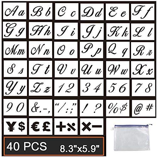 Guwheat 40 Stück Buchstaben Schablonen auf Holz malen, wiederverwendbare Vorlage mit Kalligraphie Schriftart Groß- und Kleinbuchstaben, Zahlen und Zeichen, mit Reißverschlusstaschen, 21 x 15 CM