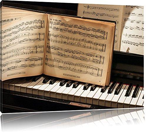 Dark Klavier Noten, Nahaufnahme Piano Leinwandbild, Kunstdruck, Keilrahmen, Motive, Poster, riesig, gerahmt, Wandbild, Gemälde, Ölbild, Plakat, Format:80x60 cm