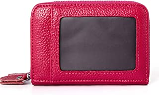 Increased Leather Card Holder Double Zipper Leather Wallet Multifunction RFID Anti-Theft Credit Card Cover Unisex (Color : Rose red, Size : S)