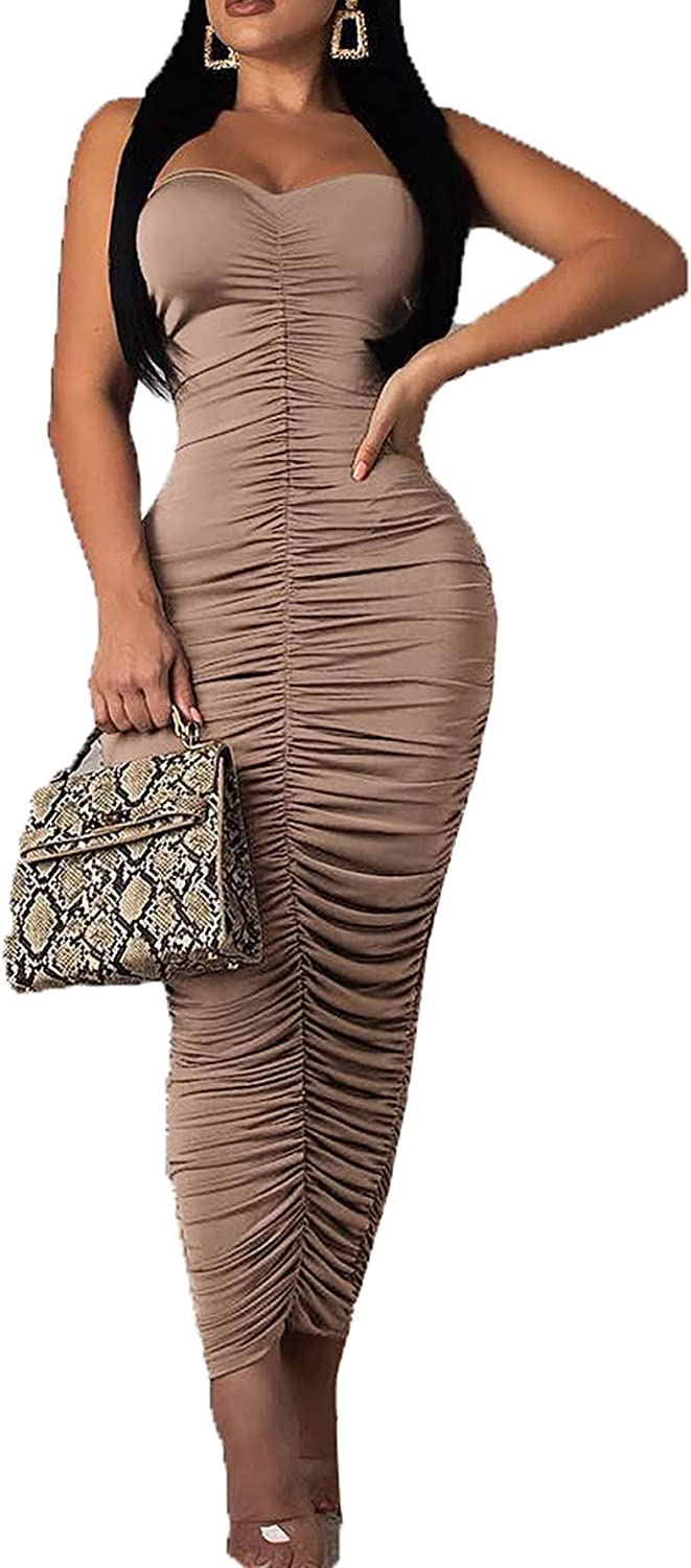 Womens Women Sexy Tube Ruched Strapless Bodycon Party Maxi Club Dress.