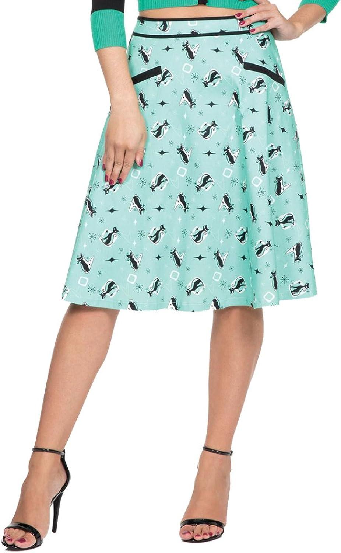 Voodoo Vixen EMMA Retro Kitty Flare Skirt Green