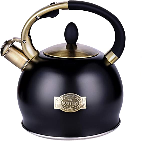 SUSTEAS Stove Top Whistling Tea Kettle-Surgical Stainless Steel Teakettle Teapot with Cool Toch Ergonomic Handle