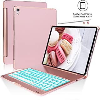 iPad Pro 11 Case for iPad Pro 11 inch 2018 with Keyboard, 7 Colors Backlight, Auto Sleep/Wake, Wireless Buletooth Connect, iPad Pro Keyboard 11, Pencil Charging, Rose Gold