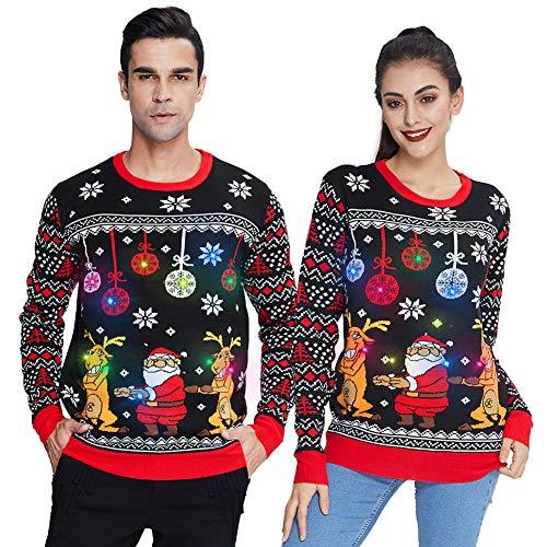 Spreadhoodie Unisex Strickpullover Weihnachtsmann Weihnachtspullover Mit LED Leuchten Neuheit Ugly Weihnachtsbaum Rentier Weihnachtspulli Sweater Pullover Für Damen Herren Weihnachtsparty XXL