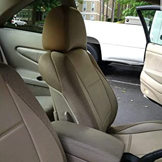 Two Front Custom Car Seat Covers | Leatherette & Synthetic | Custom Made, Compatible with Toyota RAV 4 2001-2005 | Colour TAN (Beige)