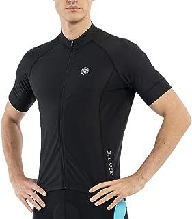 SILIK Men's Cycling Jersey Short Slevee Bike Shirts with 3 Pocket, Mountain Bike Jersey Breathable Quick Dry Biking Shirt