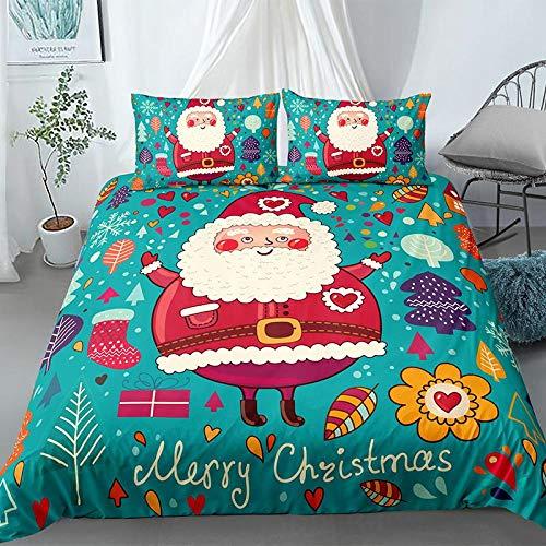 CQIIKJ 3D Bedding Set Blu Rosso Giallo Marrone Cartone Animato Babbo Natale Copripiumino in Microfibre Ipoallergenico 140x200cm Copripiumino con Chiusura a Cerniera