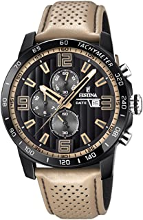 Festina 'The Originals Collection' Men's Quartz Watch with Black Dial Chronograph Display and Beige Leather Strap F20339/1