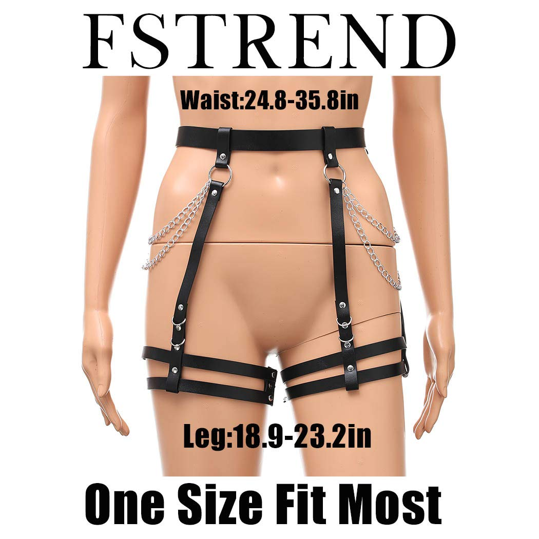 Fstrend Punk Leather Chest Body Chain Black Sexy Harness Waist Chains Nightclub Party Prom Rave Belt Belly Bra Jewelry Accessories for Women and Girls