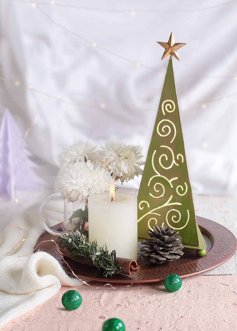レルム刺す対応するstoreindya 感謝祭ギフト クリスマスツリー型メタルお香タワー グリーンとゴールドのクリスマスホームデコレーション 装飾アクセサリーと新築祝いのギフトに最適