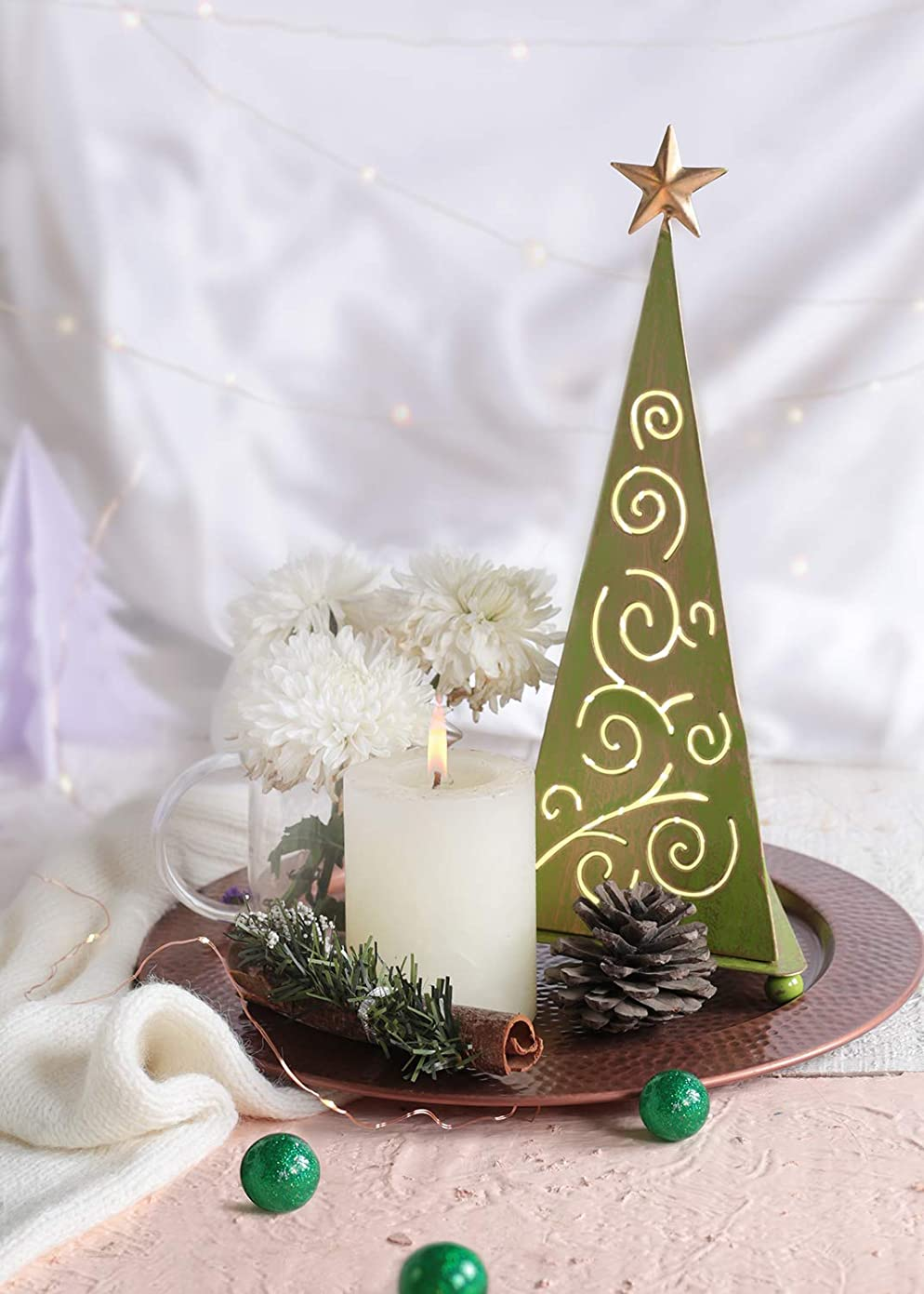 抵当また明日ね肩をすくめるstoreindya 感謝祭ギフト クリスマスツリー型メタルお香タワー グリーンとゴールドのクリスマスホームデコレーション 装飾アクセサリーと新築祝いのギフトに最適