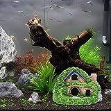 LAVECAR Decoraciones de acuario Cueva Grande Doble Capa Grann Casa Pecera Ornamento Resina Refugio Casa Escondites y Cuevas Betta Fish Cuevas Accesorios